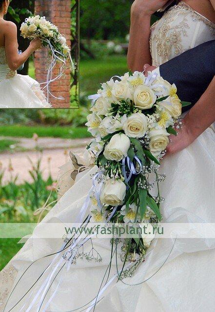 Свадебные букеты каскадом для невесты, букет невесты из ромашки купить киев